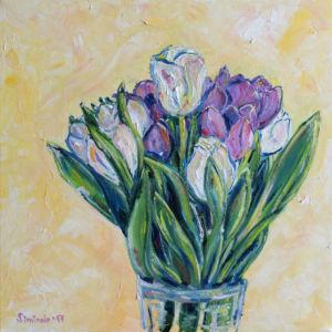Fialovobile Tulipany