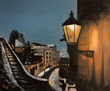 Zimní soumrak nad Malou Stranou