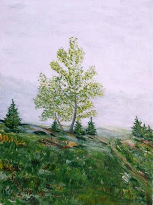 Do šumavské mlhy, 40 x 30 cm, olej na plátně