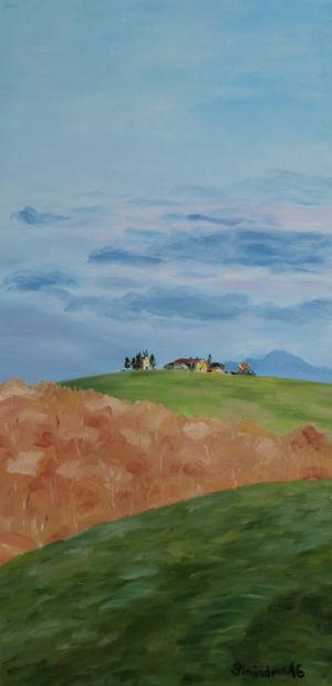 Toskanský kopec, 80 x 40 cm, olej na plátně (Cappella di Vitaleta)